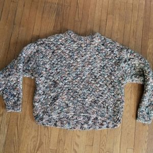 H&M Cropped Multi Colour Cable Knit Sweater Small